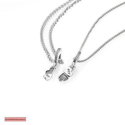 Pandora Scontati HEARTS SILVER DANGLE WITH CLEAR CUBIC ZIRCONIA AND NECKLACE